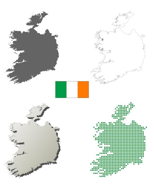Outline Map Of Ireland.Ireland Vector Outline Map Set Vector Premium Download