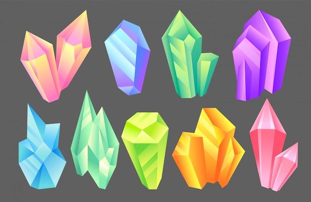 玉虫色の石セット、ミネラル、結晶、宝石、貴重な宝石または半貴石の図 Premiumベクター