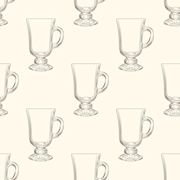 Irish coffee mug seamless pattern. hand drawn glassware cup. Premium Vector