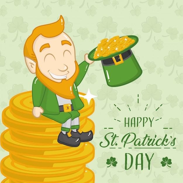 Ирландский зеленый гоблин сидит на куче монет Бесплатные векторы
