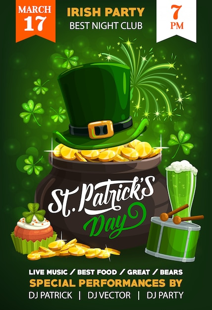 Irish holiday st patricks day poster Premium Vector