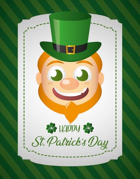 アイルランドのレプラコーンの顔、聖パトリックの日グリーティングカード 無料ベクター