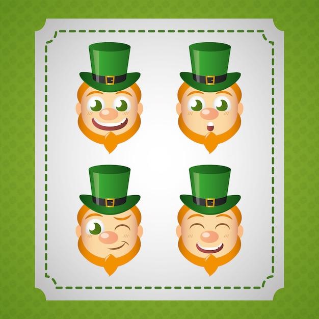 アイルランドのレプラコーンセット、聖パトリックの日 無料ベクター