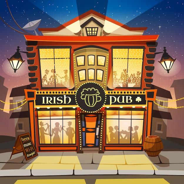 Irish pub cartoon illustration Free Vector