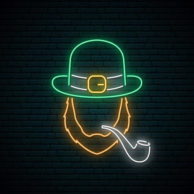 Irishman with smoking pipe neon sign. Premium Vector