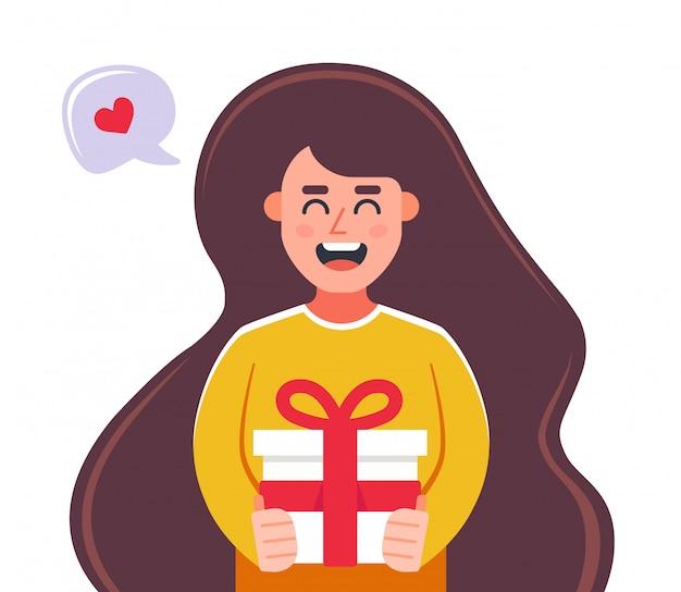 Irl дарит подарок в подарочной коробке. плоский характер векторные иллюстрации. Premium векторы