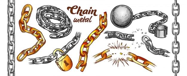 Набор цветных цепочек iron chain Premium векторы