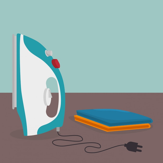 Iron clothes electric laundry service Free Vector
