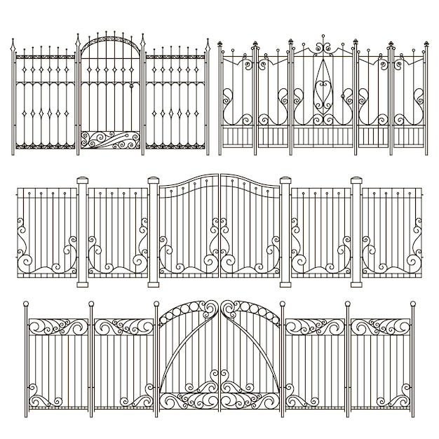 Iron gate and fence design with different decorative elements. vector illustrations Premium Vector