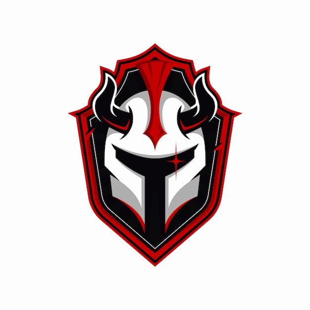 Железный шлем с логотипом талисмана рога Premium векторы