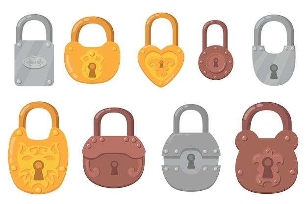 鉄の南京錠フラットアイコンセット。安全とセキュリティ保護のための漫画のキーロックは、ベクトルイラストコレクションを分離しました。安全なメカニズムと暗号化の概念 無料ベクター