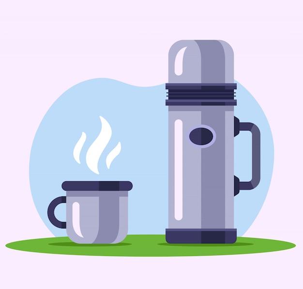 Железный термос с кружкой чая на природе. иллюстрация Premium векторы