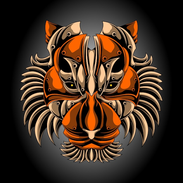 Iron tiger head Premium Vector