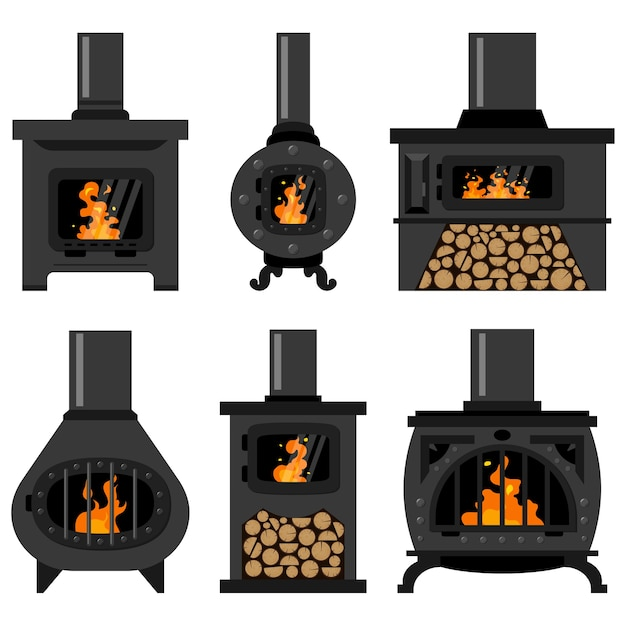 Iron wood burning stove with firewood and fire set Premium Vector