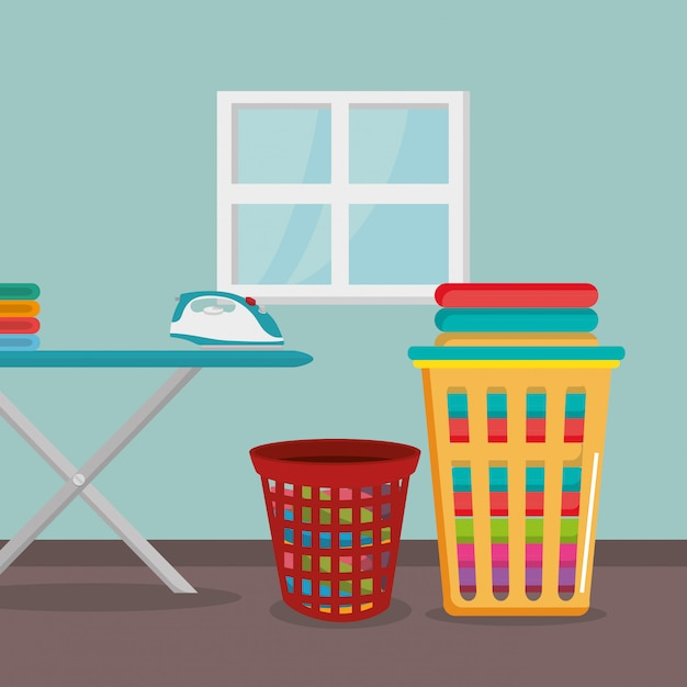 Ironing board with laundry service Free Vector