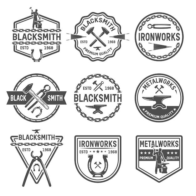 Ironworks black emblems 無料ベクター