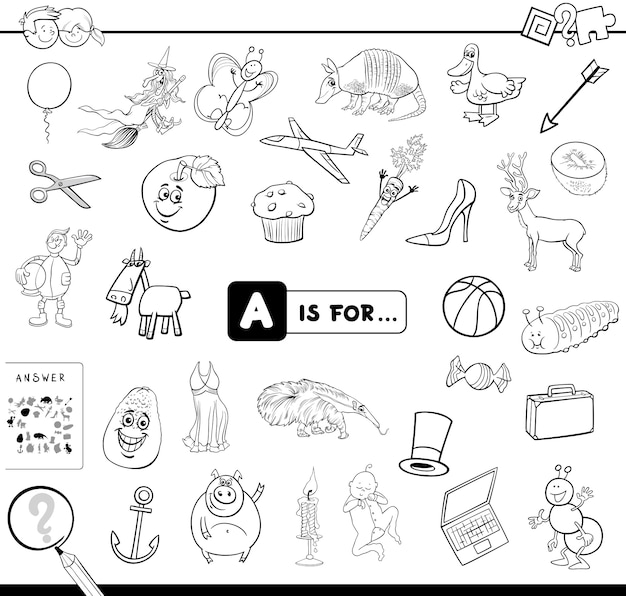 A is for educational game coloring book Premium Vector