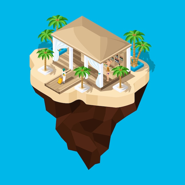 Is a fabulous island, a cartoon, a girl with a suitcase goes to the hotel, a game landscape. holidays in warm countries Premium Vector