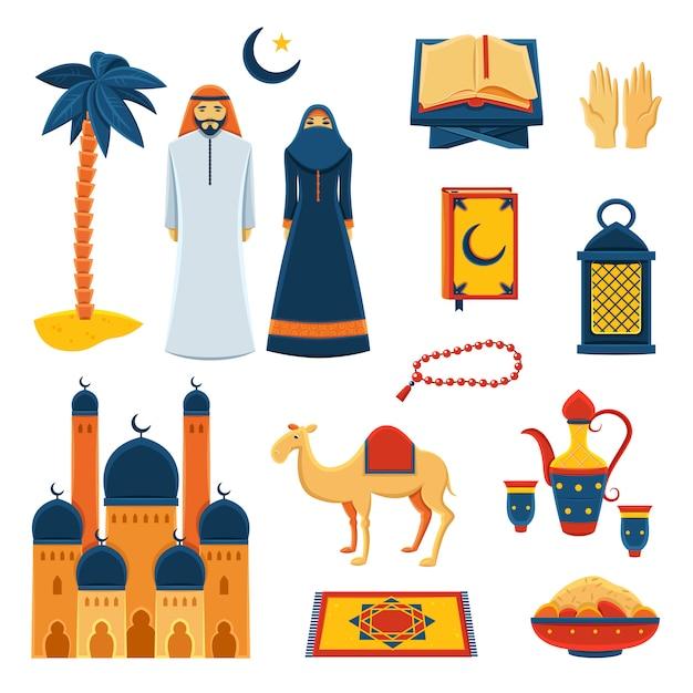 Islam religion flat icons set Premium Vector