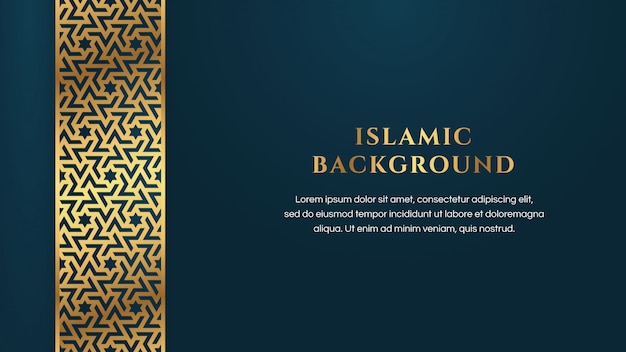 Islamic arabic abstract elegant blue background with golden luxury border frame Premium Vector