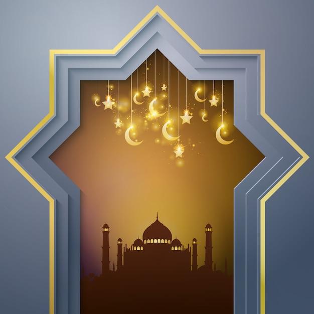 イスラムの背景モスク Premiumベクター