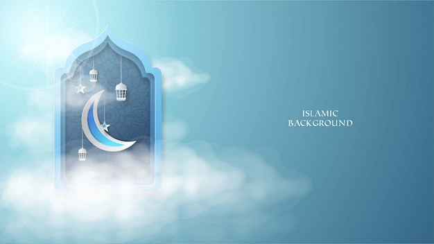Islamic background with moon, star, sky, and latern illustration Premium Vector