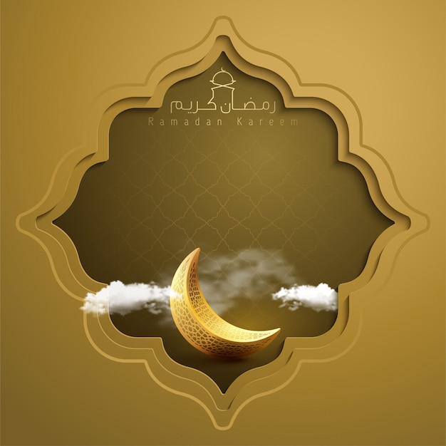 Islamic banner ramadan kareem greeting background with gold crescent symbol and geometric pattern ea