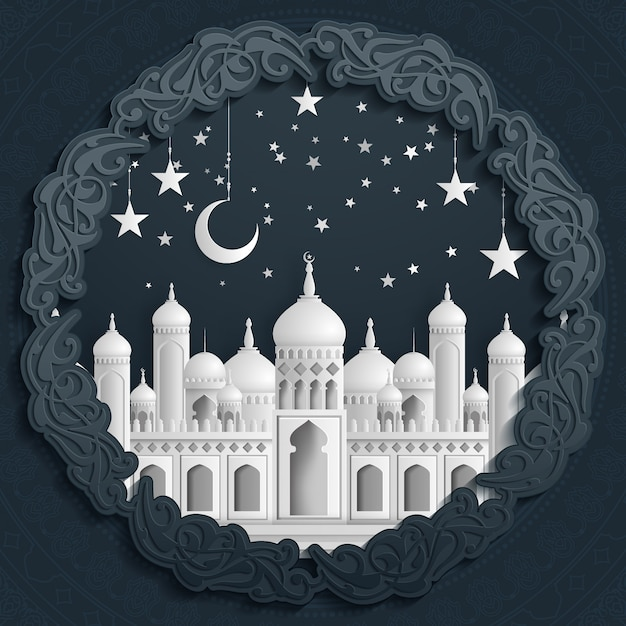 Islamic beautiful design template. mosque with moon and stars on white background in paper cut style. Premium Vector