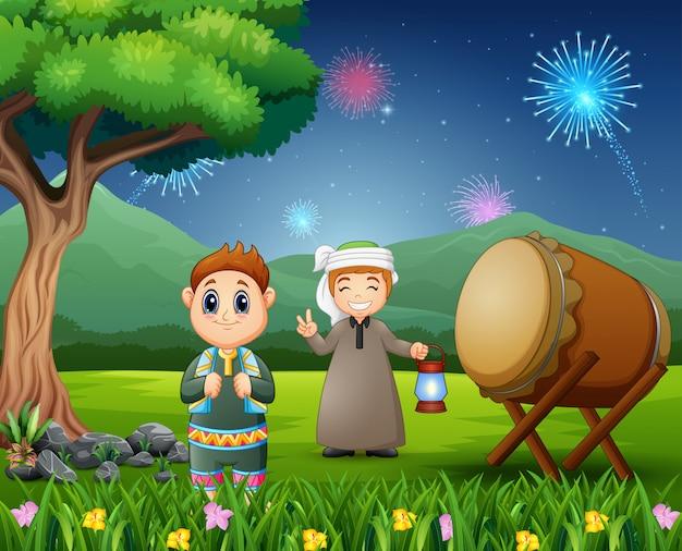 Islamic boys holding lantern for eid mubarak celebrations Premium Vector