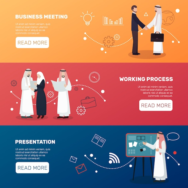 Islamic businesspeople banners Free Vector