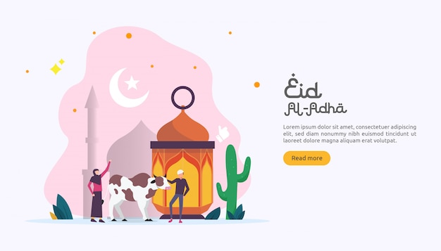 Islamic concept for happy eid al adha or sacrifice celebration event Premium Vector