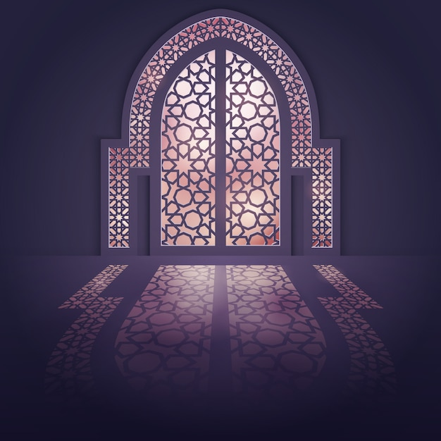 Islamic design background mosque door background Premium Vector