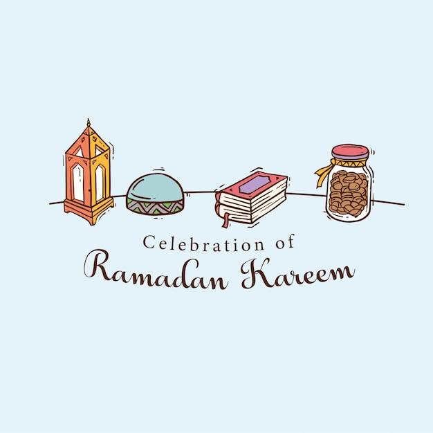 Islamic doodle art banner for ramadan kareem Premium Vector