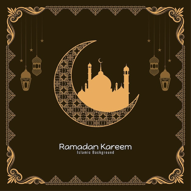 Islamic festival ramadan kareem religious background design Free Vector