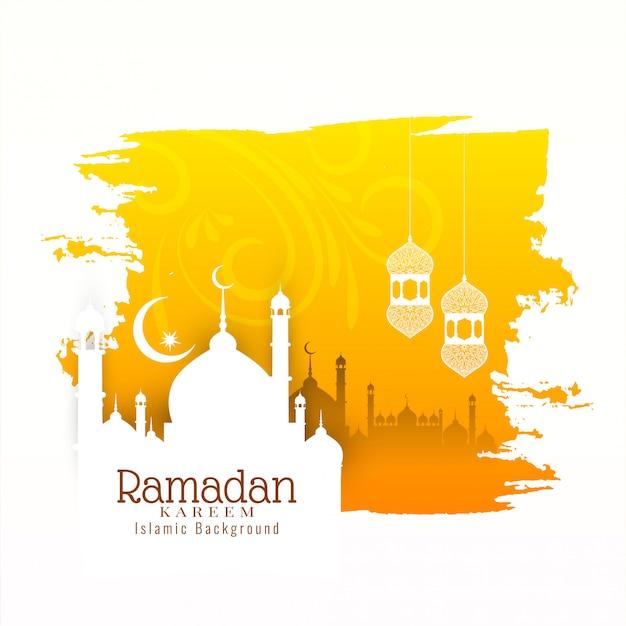 Исламский фестиваль рамадан карим желтый фон Premium векторы