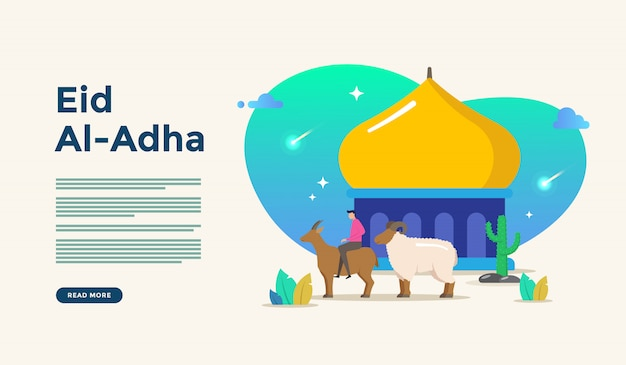 Islamic flat design illustration for happy eid fitr or adha mubarak and ramadan kareem with people character concept for web landing page template Premium Vector