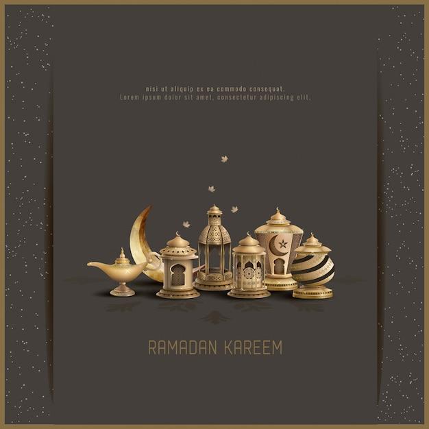 Islamic greeting card design ramadan kareem Premium Vector