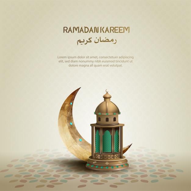 Исламский дизайн приветствия рамадан карим с полумесяцем и фонарем Premium векторы