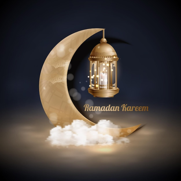 Islamic greetings ramadan kareem  background with gold lanterns and crescent moon Premium Vector