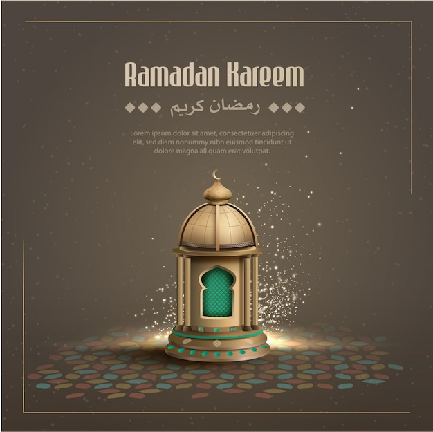 Islamic greetings ramadan kareem card design background with gold lantern Premium Vector