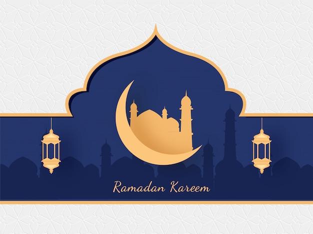 Исламский священный месяц рамадан карим с золотой мечетью, полумесяцем и подвесные фонари на мечеть силуэт на фоне фиолетовый и белый. Premium векторы