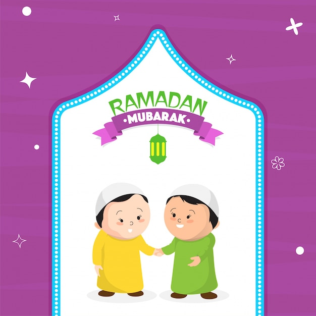 Islamic holy month ramadan mubarak greeting card design with islamic holy month ramadan mubarak greeting card design with illustration of happy muslim men stock images page everypixel m4hsunfo