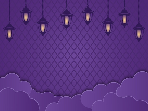 Islamic lanterns, clouds and ornaments in a purple background. creative concept of ramadhan or fitri adha greeting card design, mawlid, isra miraj, copy space text area, illustration. Premium Vector