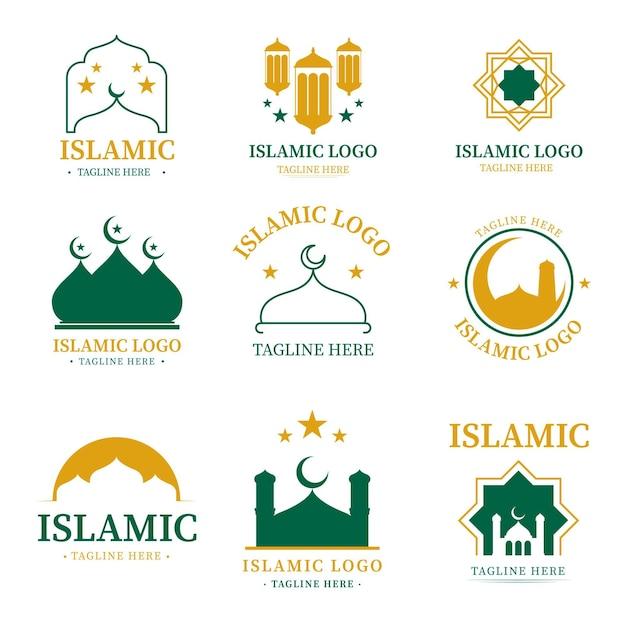 Коллекция исламских логотипов в двух цветах Premium векторы