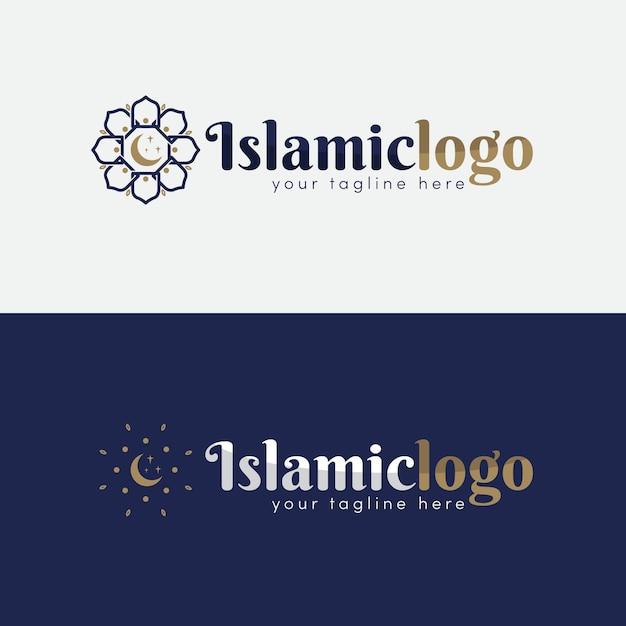 2色のイスラムロゴコレクション 無料ベクター