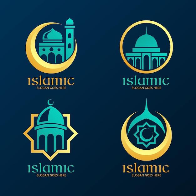 Коллекция исламских логотипов с мечетью Premium векторы