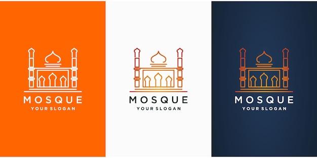 Коллекция исламских логотипов с мечетью. Premium векторы