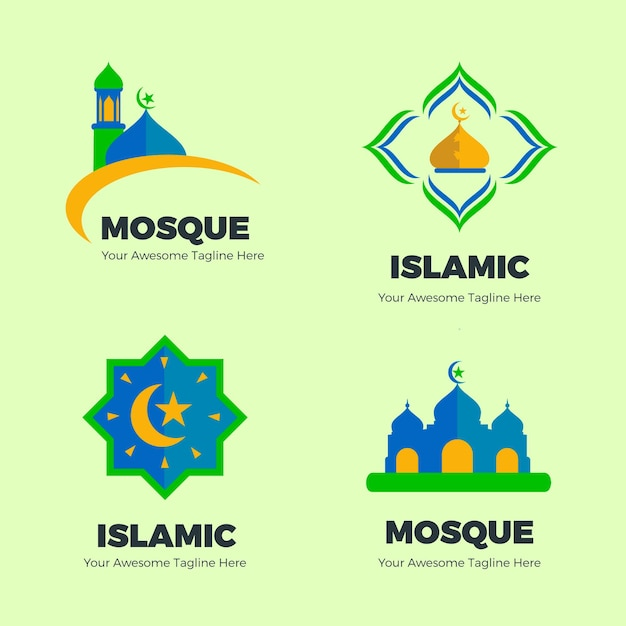 Коллекция исламских логотипов Бесплатные векторы