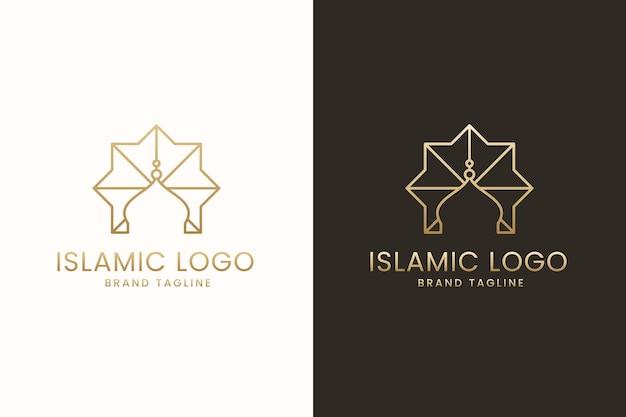 Исламский дизайн логотипа в двух цветах Premium векторы