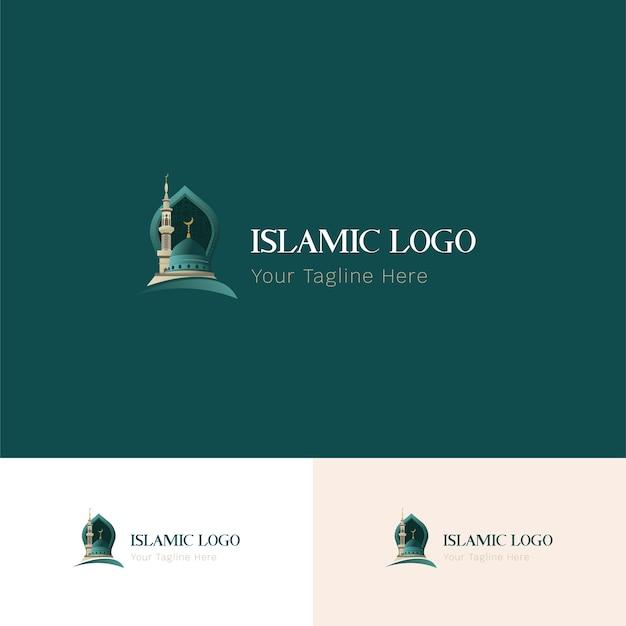 Исламский логотип зеленый Premium векторы